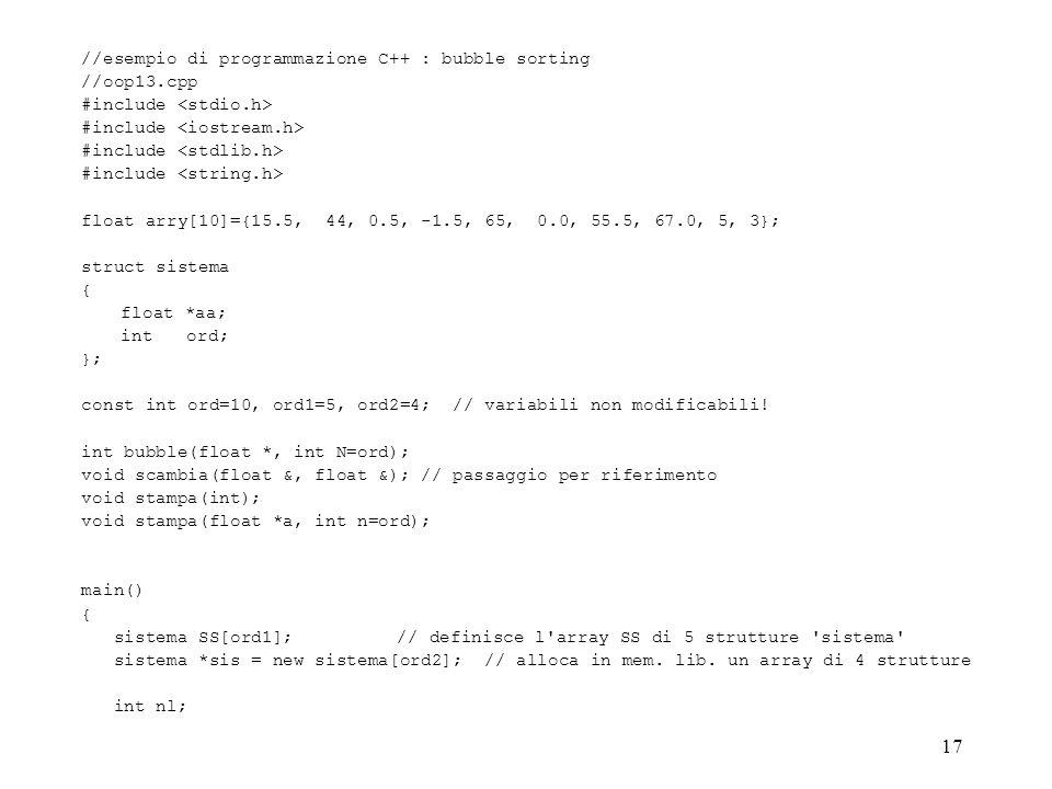 //esempio di programmazione C++ : bubble sorting