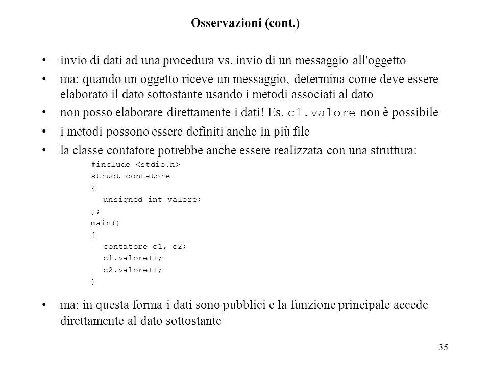 invio di dati ad una procedura vs. invio di un messaggio all oggetto