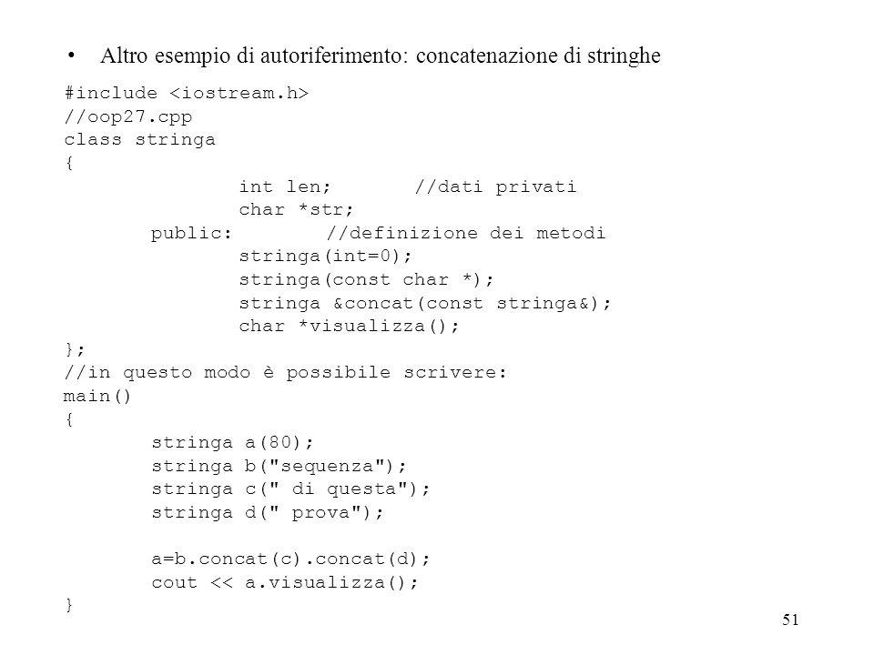 Altro esempio di autoriferimento: concatenazione di stringhe