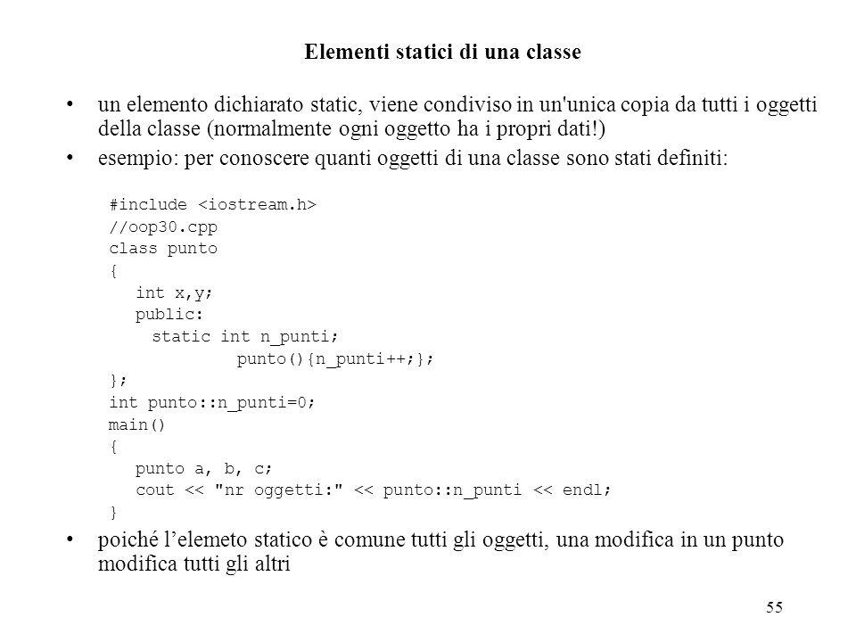 Elementi statici di una classe