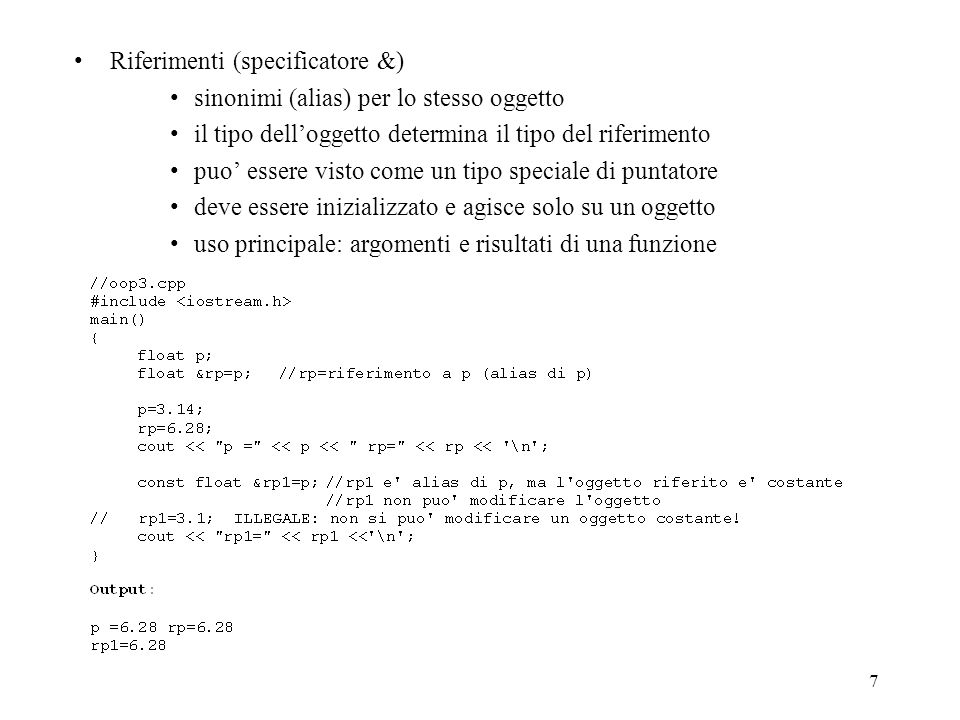 Riferimenti (specificatore &)