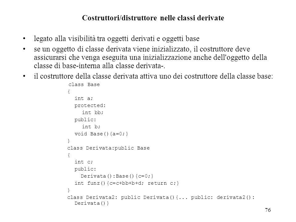 Costruttori/distruttore nelle classi derivate