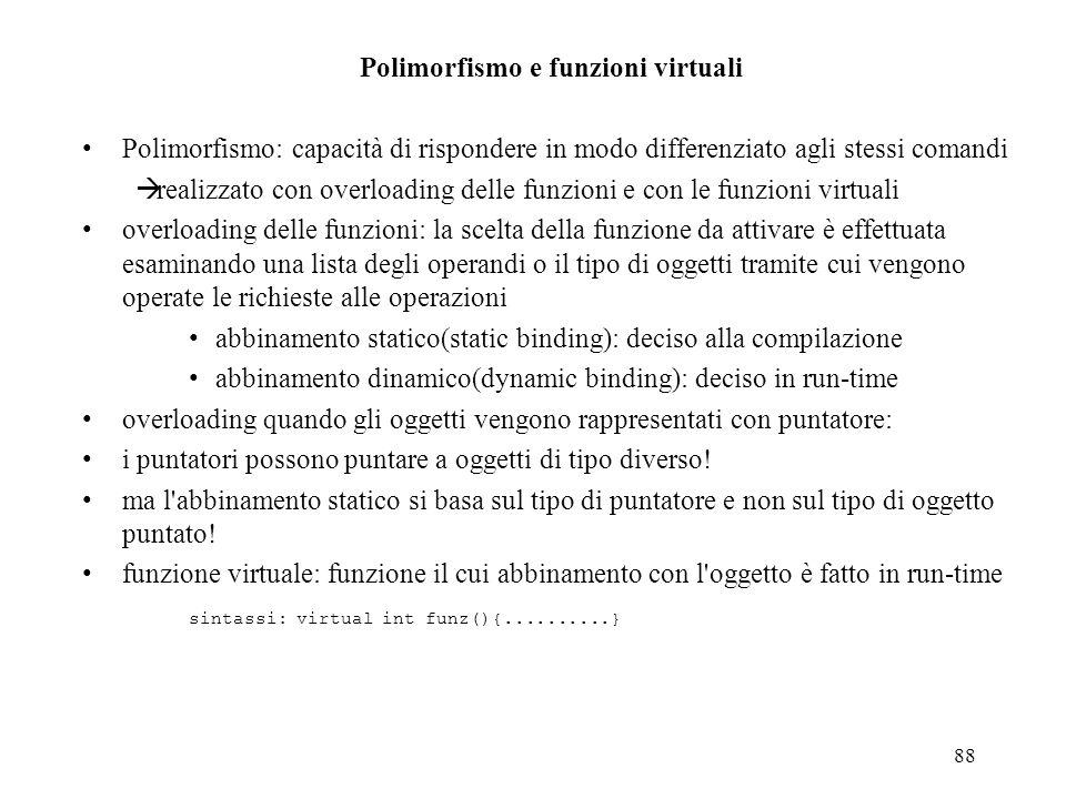 Polimorfismo e funzioni virtuali