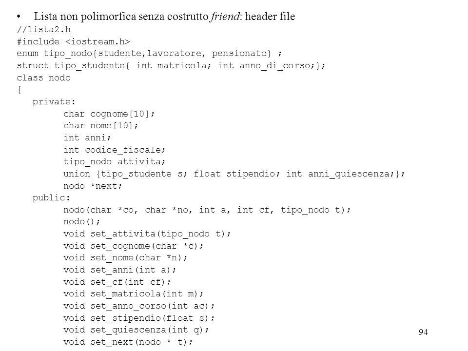 Lista non polimorfica senza costrutto friend: header file