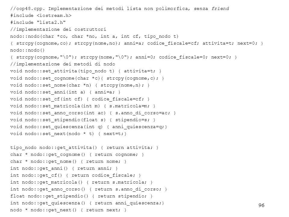 //oop48.cpp. Implementazione dei metodi lista non polimorfica, senza friend