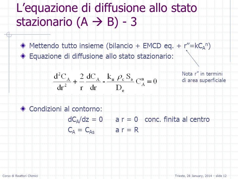 L'equazione di diffusione allo stato stazionario (A  B) - 3