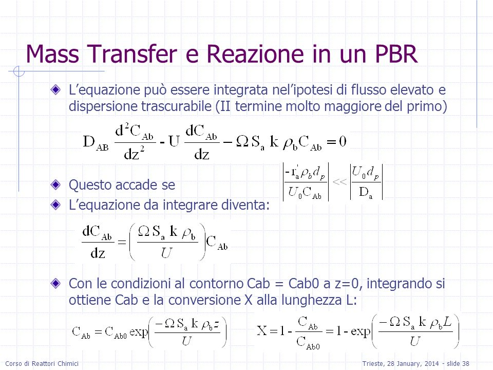Mass Transfer e Reazione in un PBR