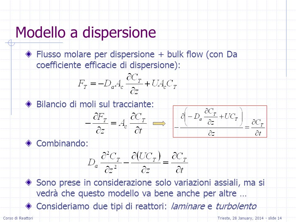 Modello a dispersione Flusso molare per dispersione + bulk flow (con Da coefficiente efficacie di dispersione):