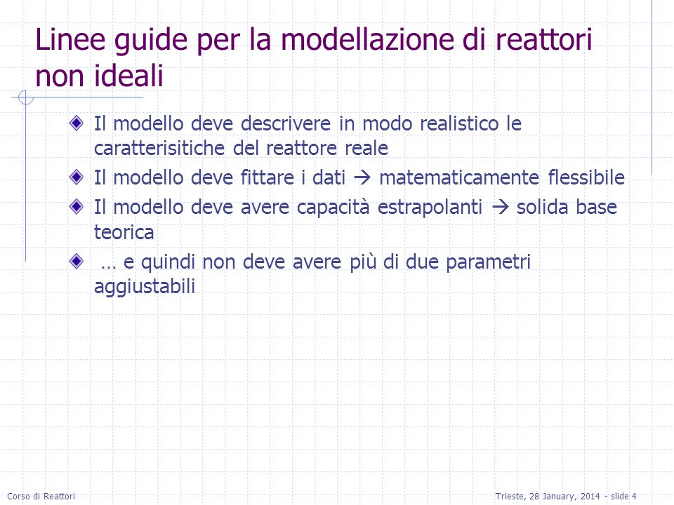 Linee guide per la modellazione di reattori non ideali