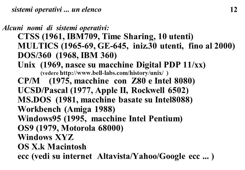sistemi operativi ... un elenco