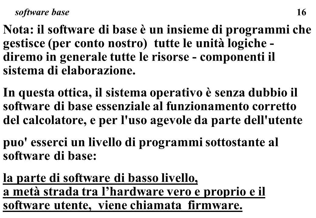 puo esserci un livello di programmi sottostante al software di base: