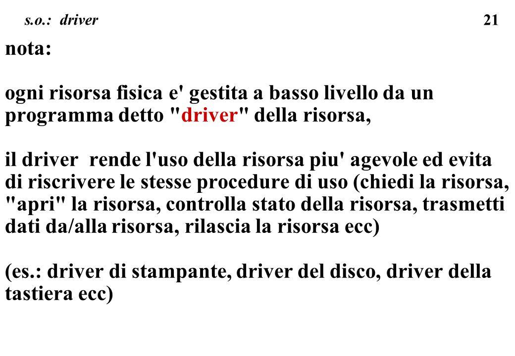 s.o.: driver nota: ogni risorsa fisica e gestita a basso livello da un programma detto driver della risorsa,