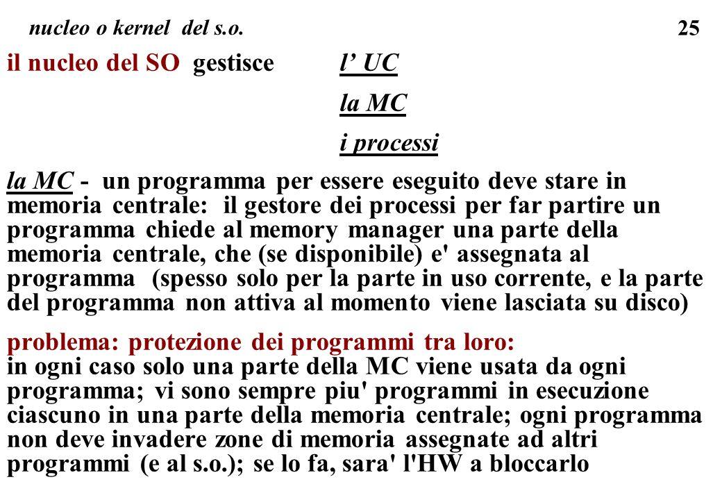 il nucleo del SO gestisce l' UC la MC i processi
