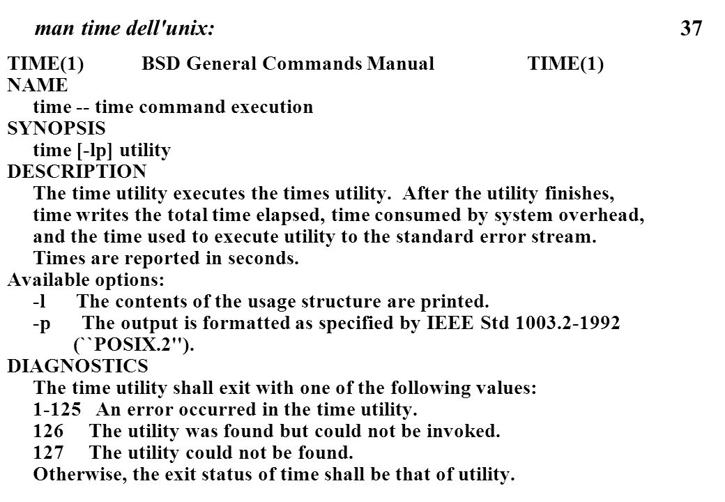 man time dell unix: TIME(1) BSD General Commands Manual TIME(1) NAME