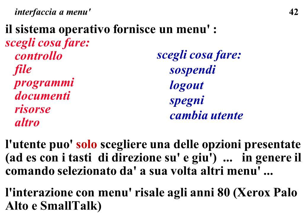 il sistema operativo fornisce un menu : scegli cosa fare: controllo