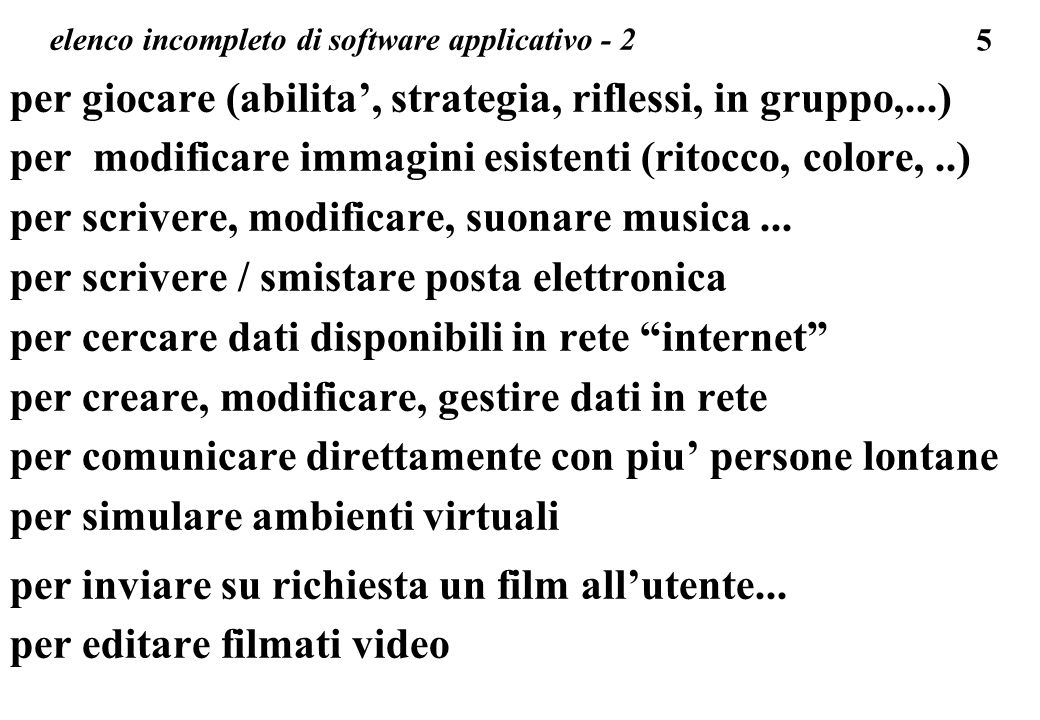 elenco incompleto di software applicativo - 2