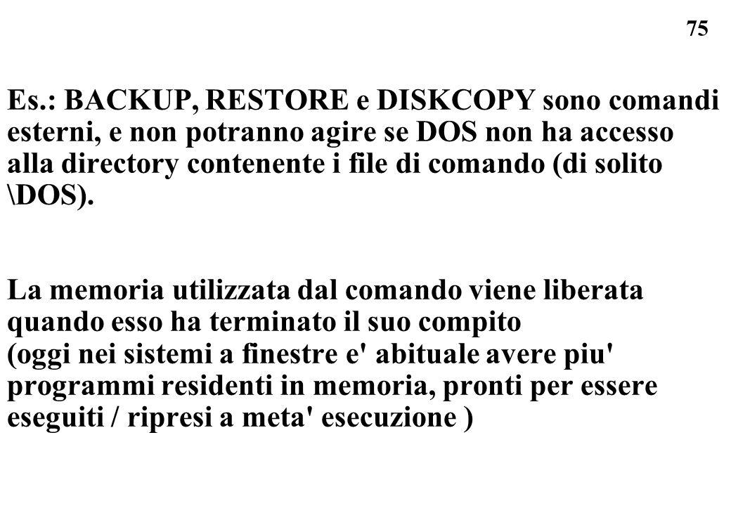 Es.: BACKUP, RESTORE e DISKCOPY sono comandi esterni, e non potranno agire se DOS non ha accesso alla directory contenente i file di comando (di solito \DOS).