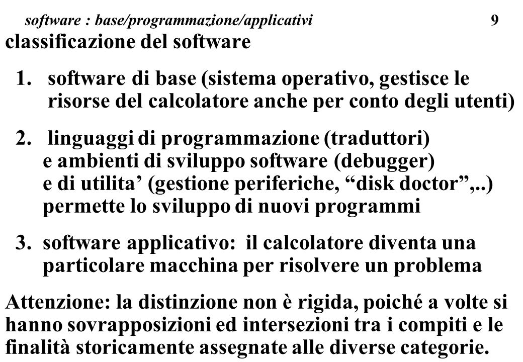 software : base/programmazione/applicativi