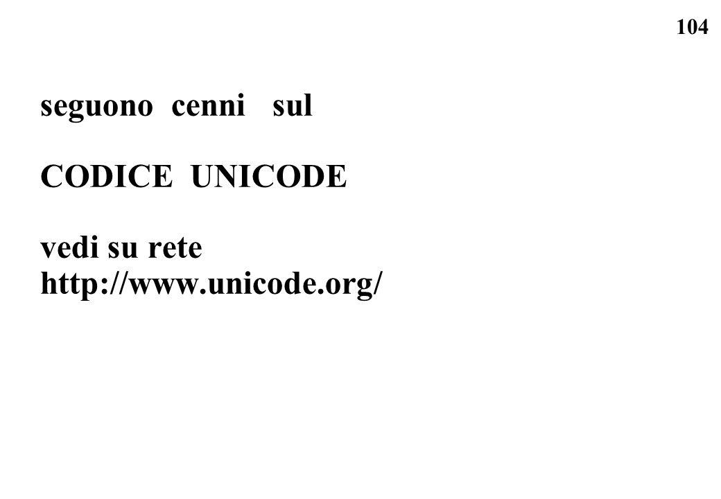 seguono cenni sul CODICE UNICODE vedi su rete http://www.unicode.org/