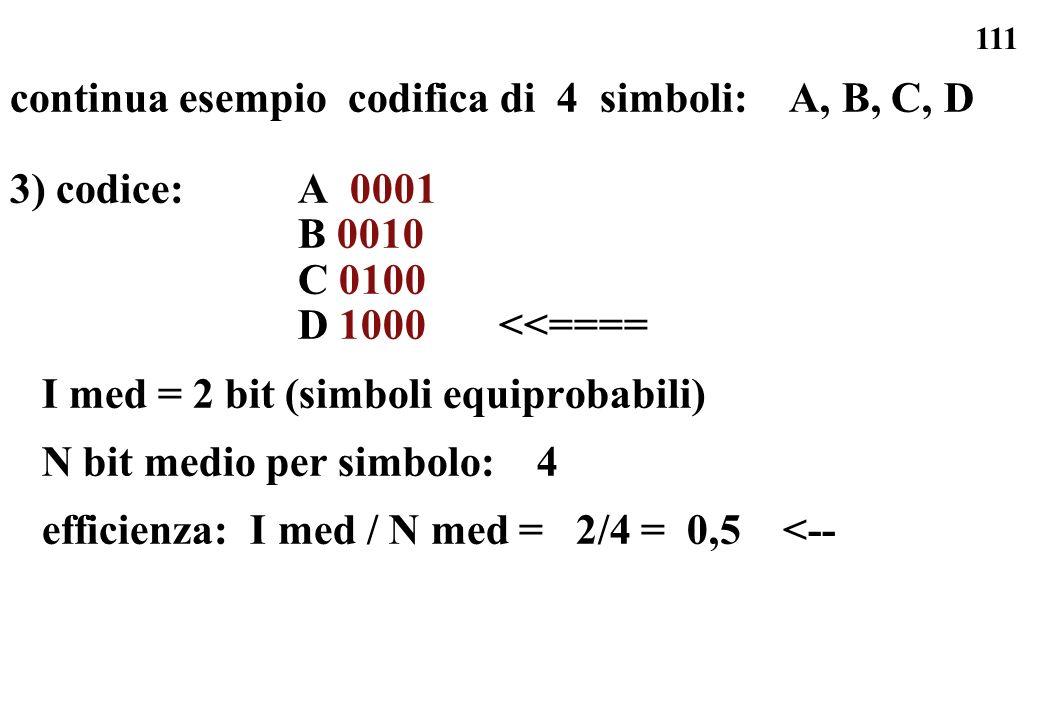 continua esempio codifica di 4 simboli: A, B, C, D