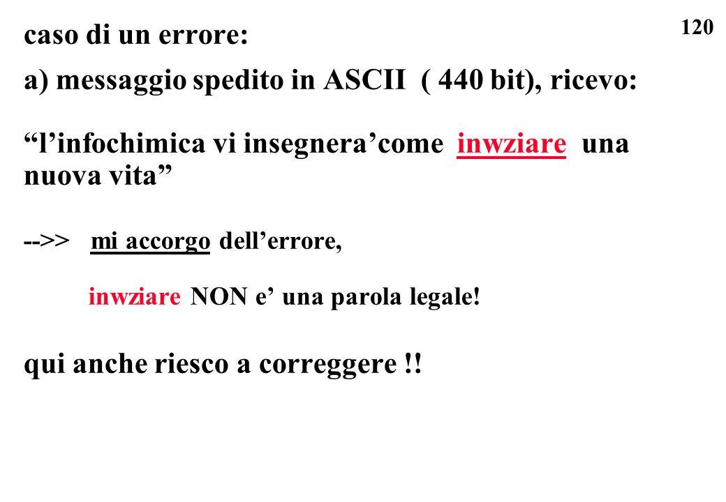 a) messaggio spedito in ASCII ( 440 bit), ricevo:
