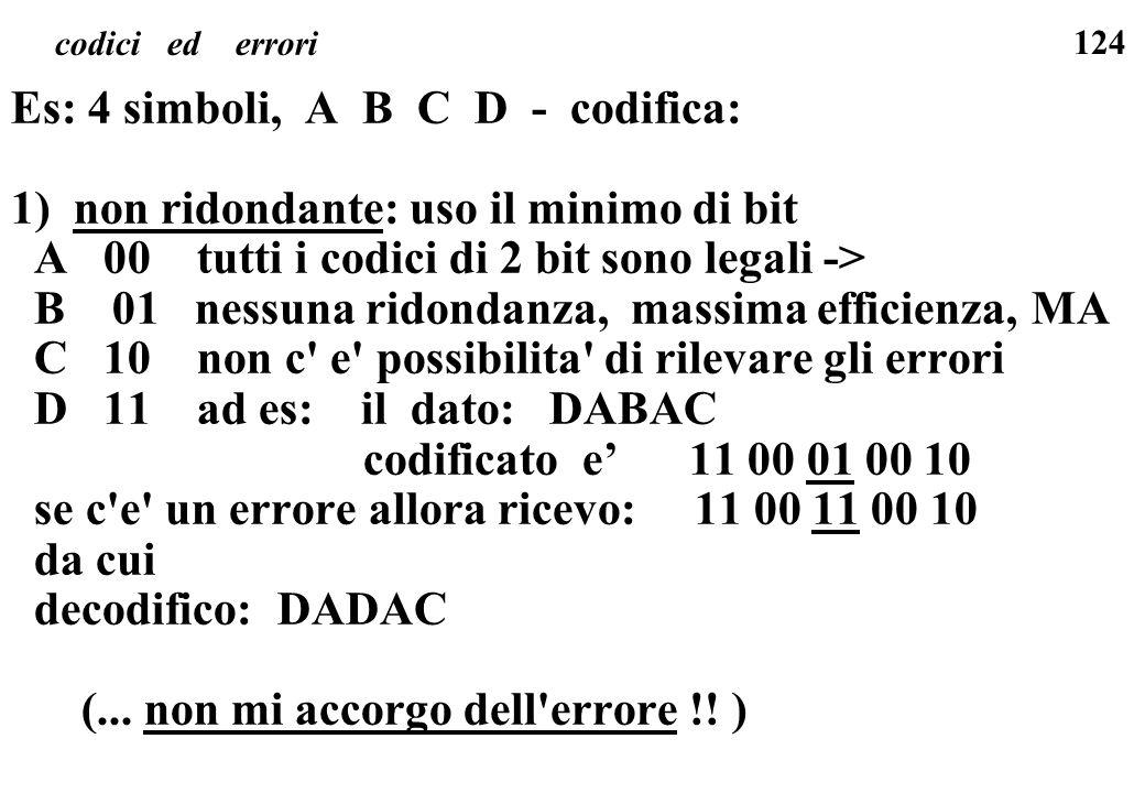 Es: 4 simboli, A B C D - codifica: