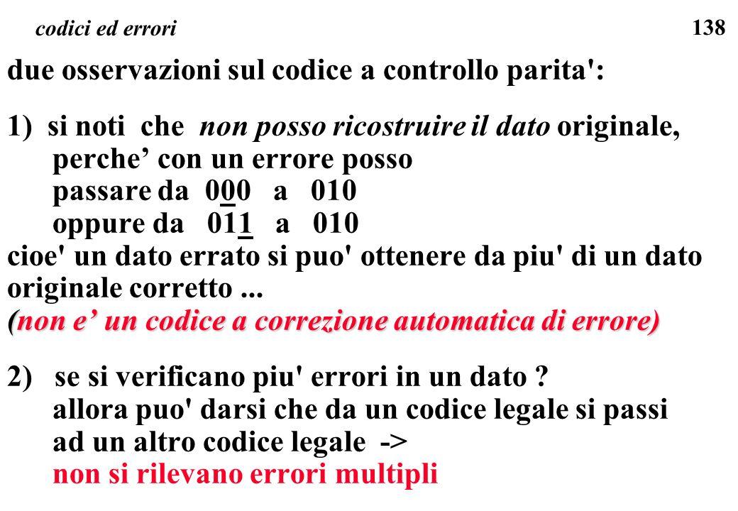 due osservazioni sul codice a controllo parita :