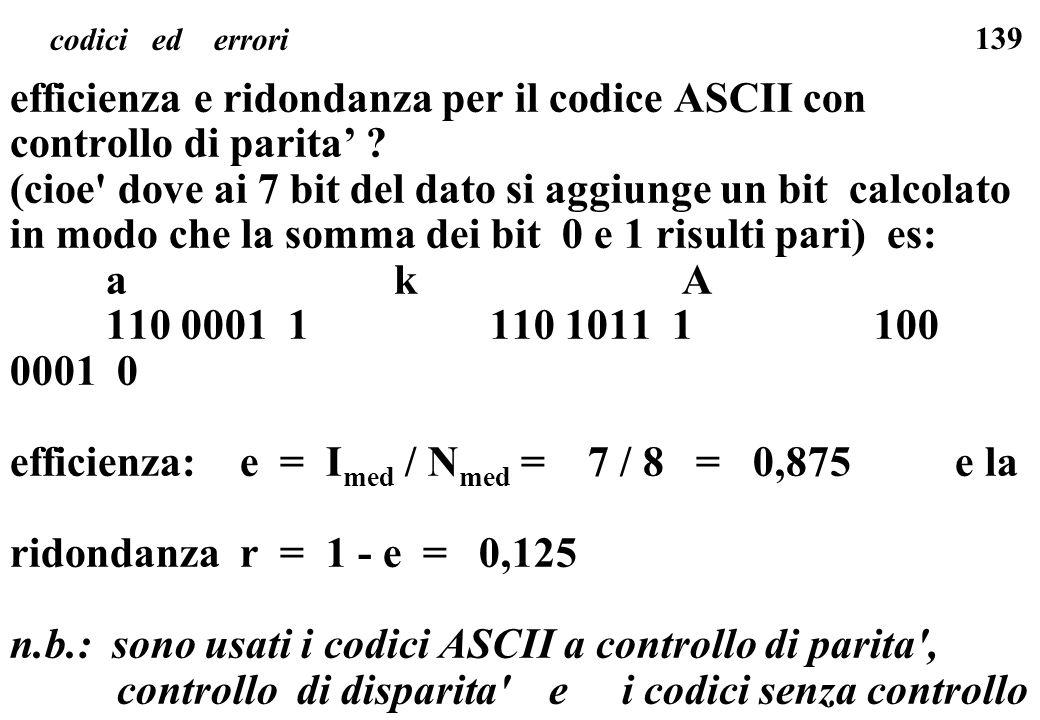 efficienza e ridondanza per il codice ASCII con controllo di parita'