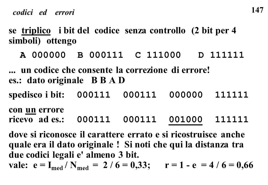 ... un codice che consente la correzione di errore!