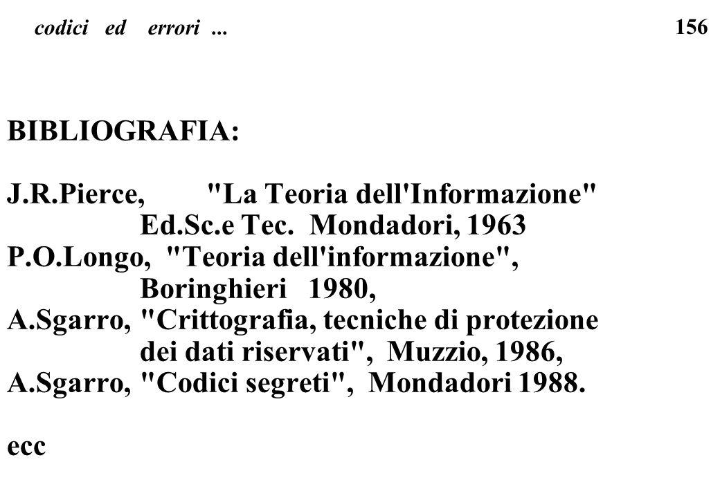 J.R.Pierce, La Teoria dell Informazione Ed.Sc.e Tec. Mondadori, 1963
