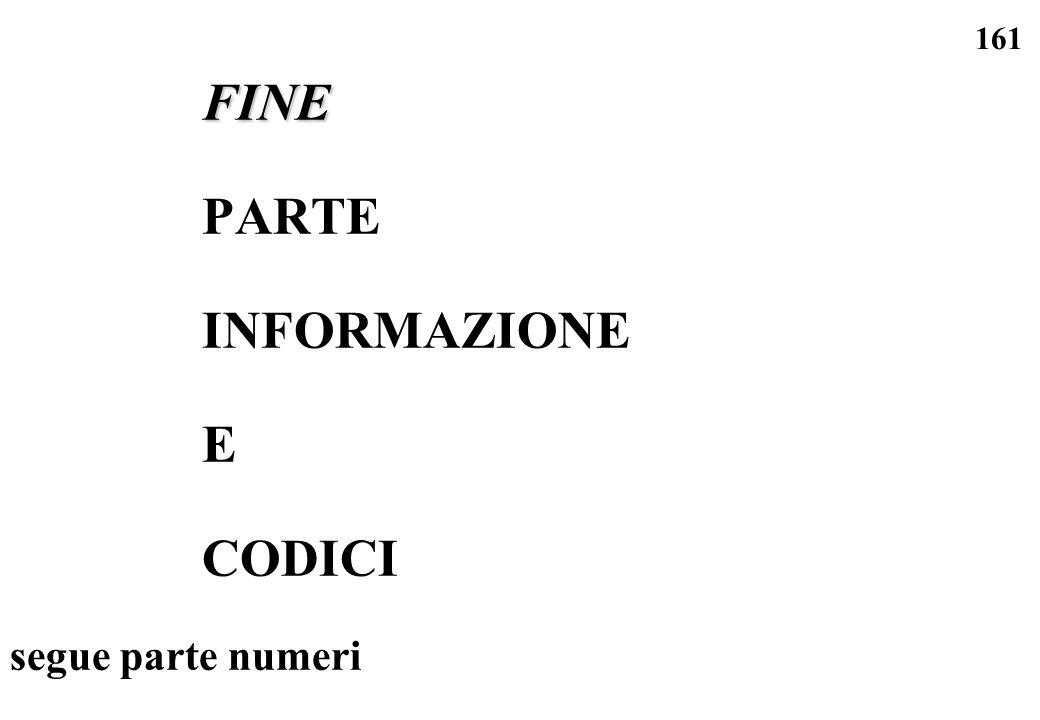 FINE PARTE INFORMAZIONE E CODICI segue parte numeri