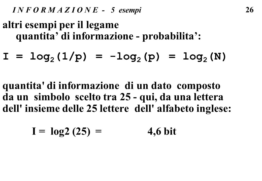 I = log2(1/p) = -log2(p) = log2(N)