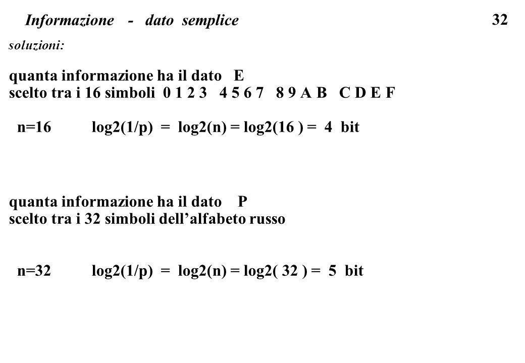 Informazione - dato semplice