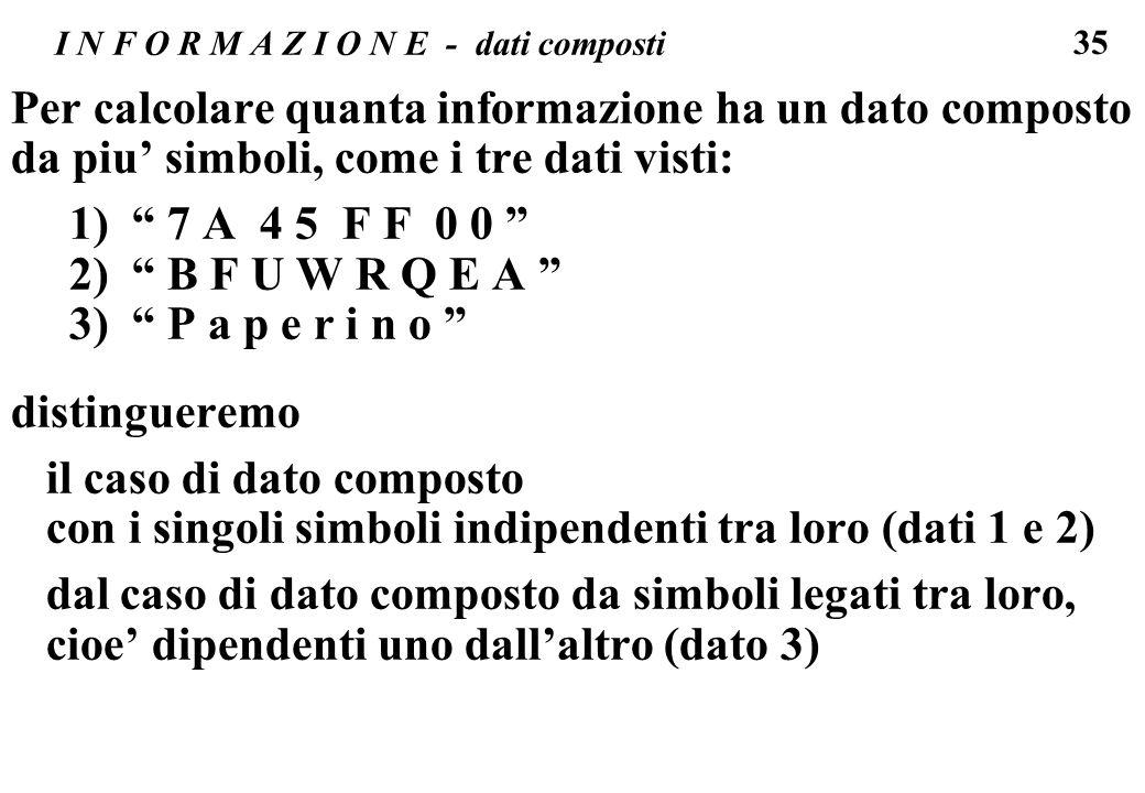 I N F O R M A Z I O N E - dati composti