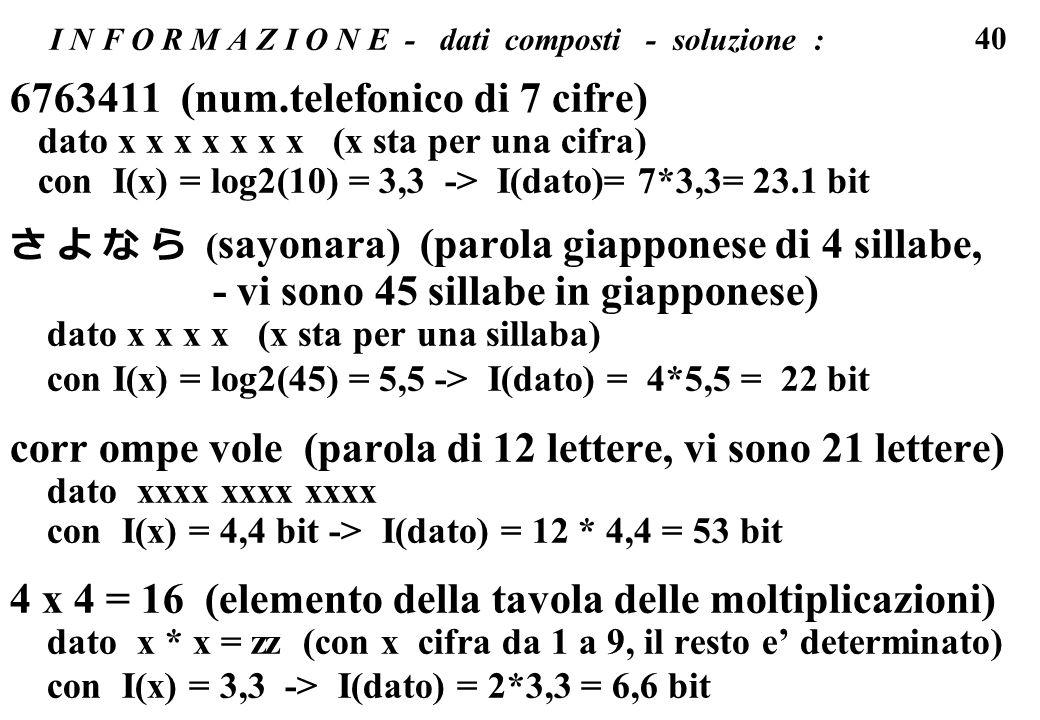 I N F O R M A Z I O N E - dati composti - soluzione :