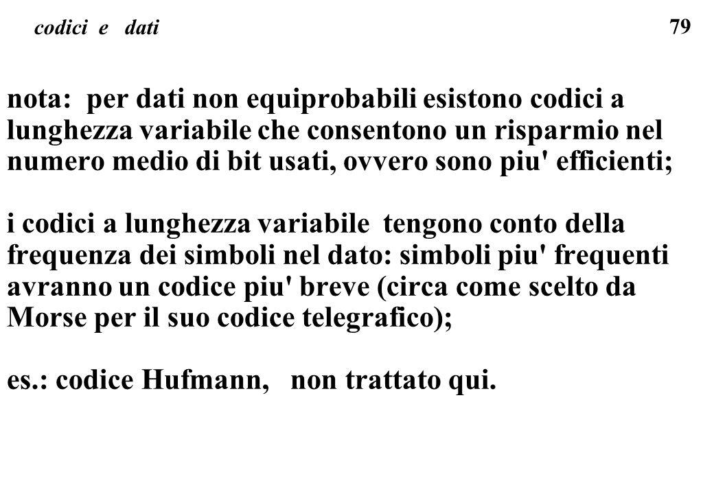 es.: codice Hufmann, non trattato qui.