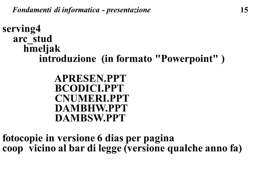 Fondamenti di informatica - presentazione