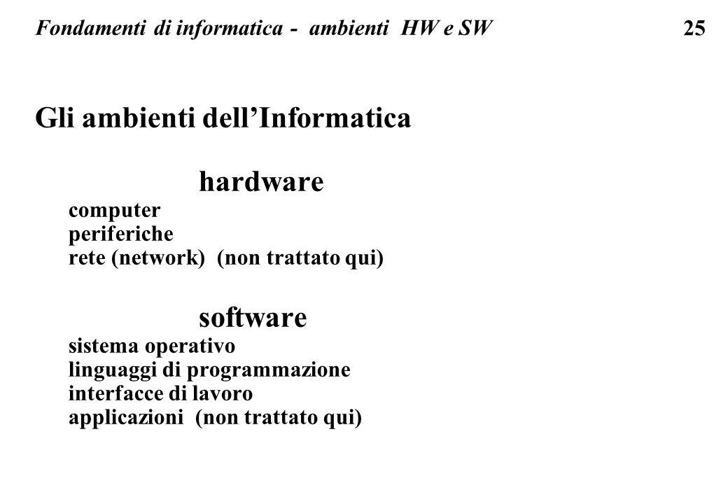 Fondamenti di informatica - ambienti HW e SW