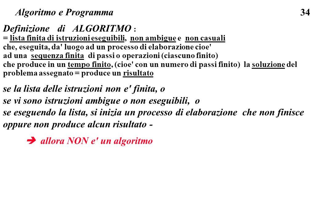 Definizione di ALGORITMO :
