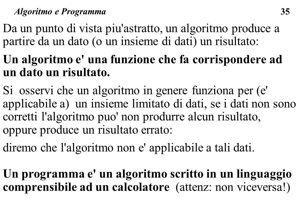 diremo che l algoritmo non e applicabile a tali dati.