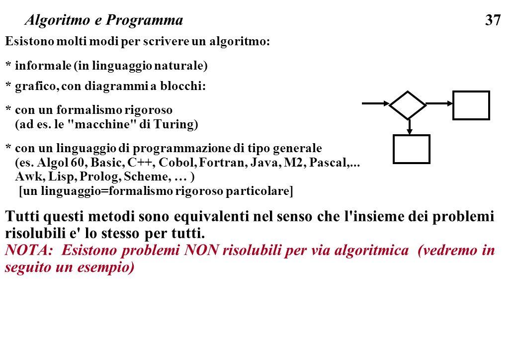 Algoritmo e Programma Esistono molti modi per scrivere un algoritmo: * informale (in linguaggio naturale)