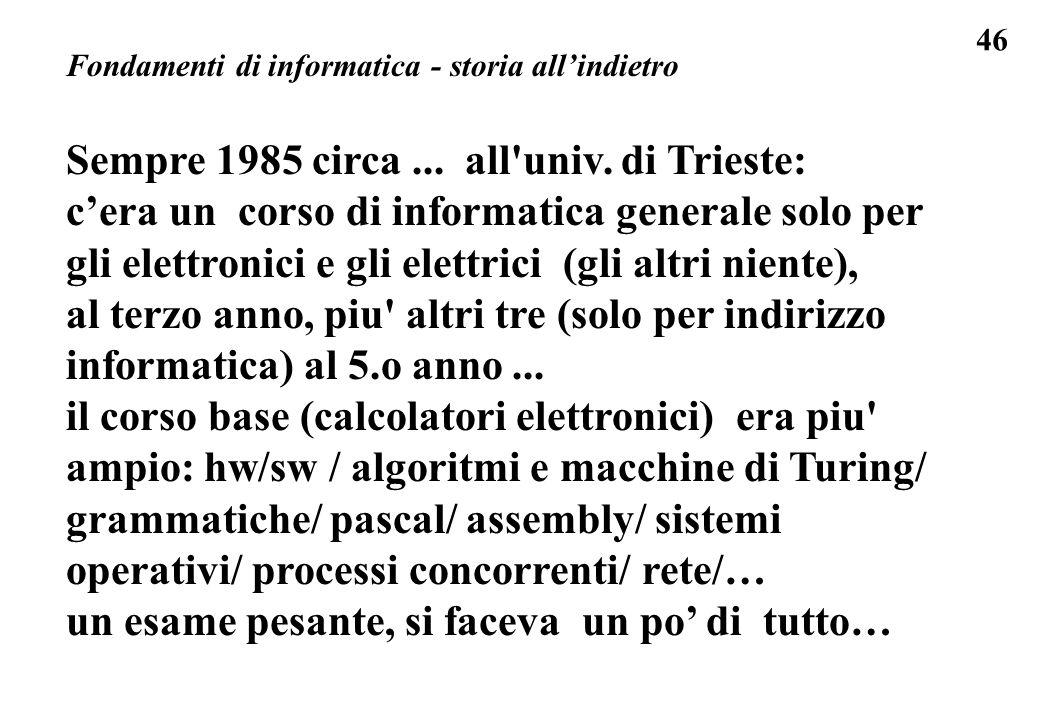 Sempre 1985 circa ... all univ. di Trieste: