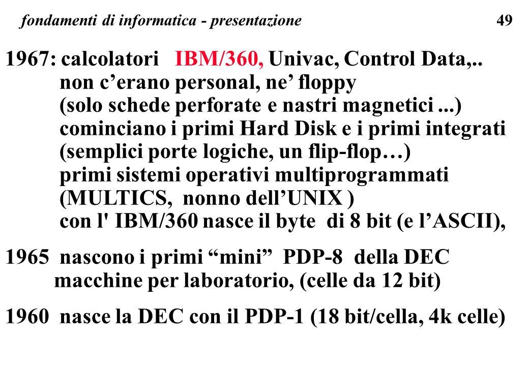 1967: calcolatori IBM/360, Univac, Control Data,..