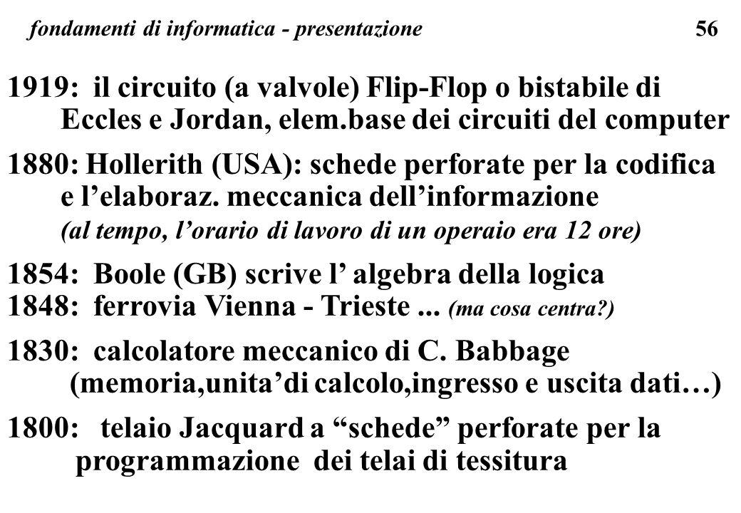 1919: il circuito (a valvole) Flip-Flop o bistabile di