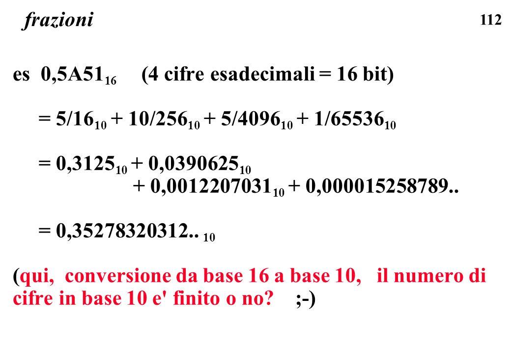 frazioni es 0,5A5116 (4 cifre esadecimali = 16 bit) = 5/1610 + 10/25610 + 5/409610 + 1/6553610.