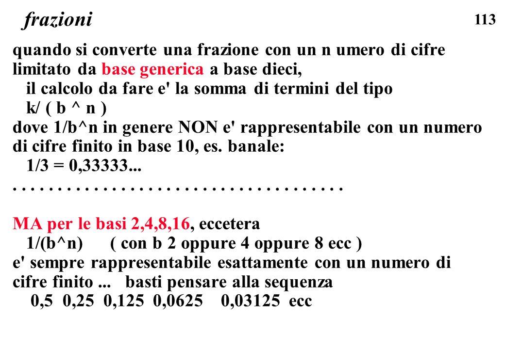 frazioni quando si converte una frazione con un n umero di cifre limitato da base generica a base dieci,