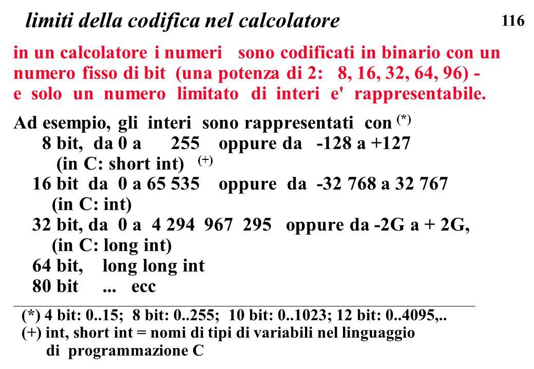 limiti della codifica nel calcolatore
