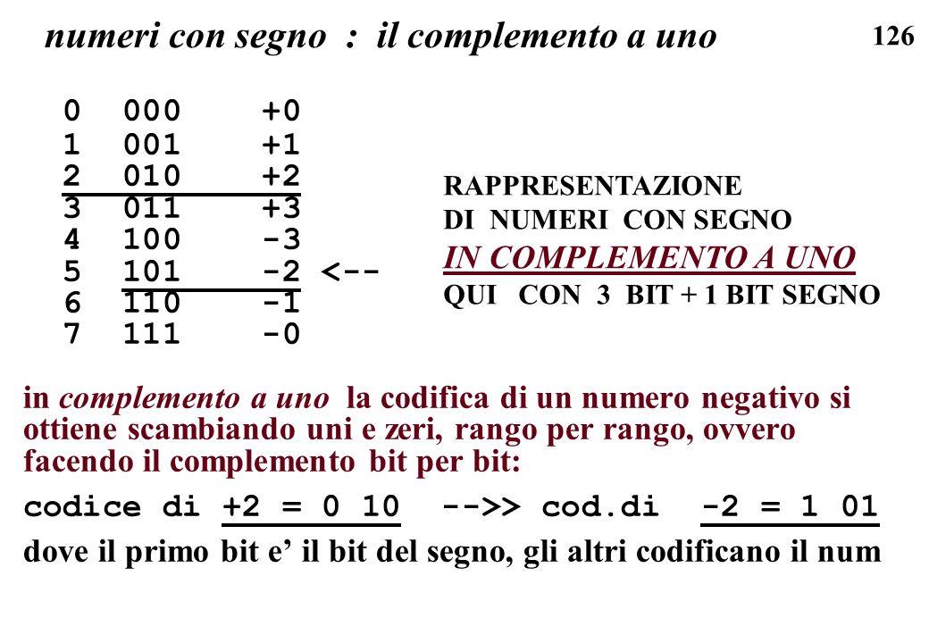 numeri con segno : il complemento a uno
