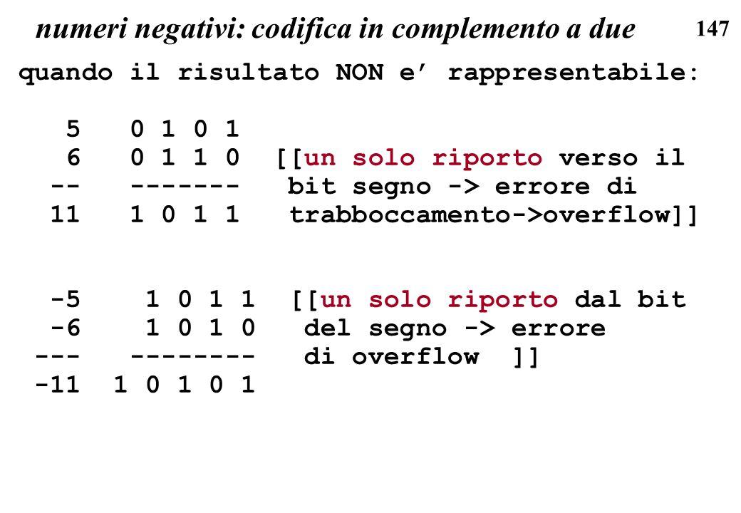 numeri negativi: codifica in complemento a due