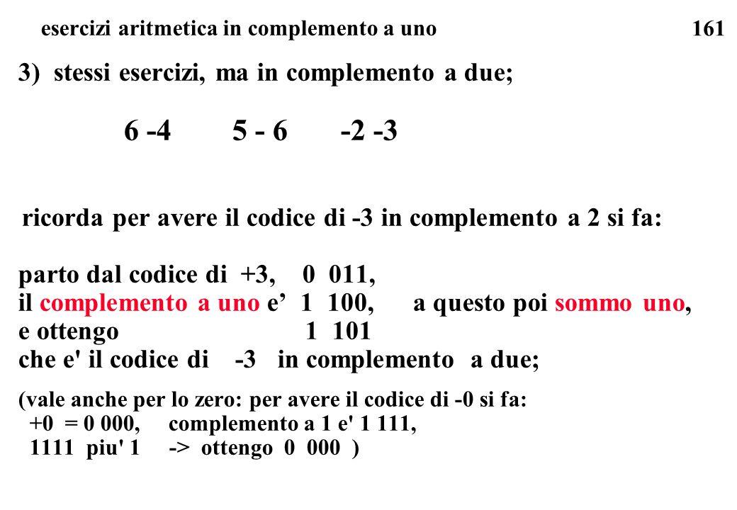 esercizi aritmetica in complemento a uno